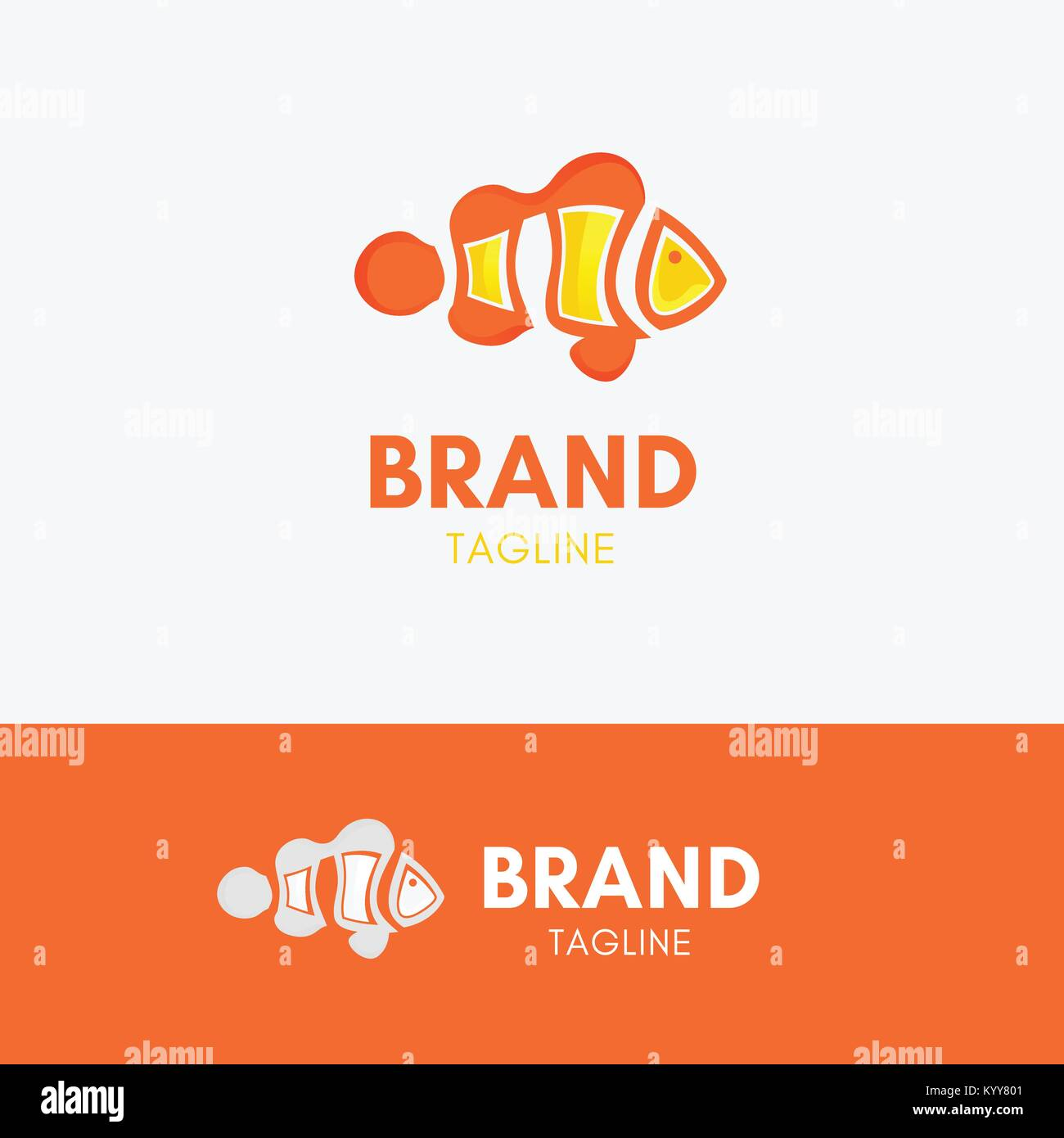 clown fish logo template element symbol with orange and yellow color