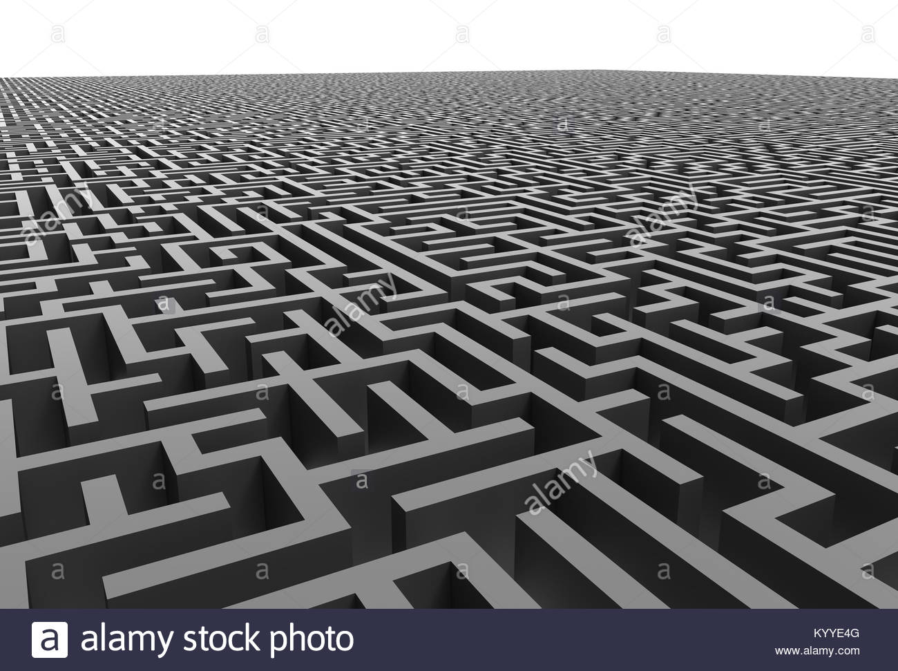 3d rendering maze, close up look at grey maze template, labyrinth ...