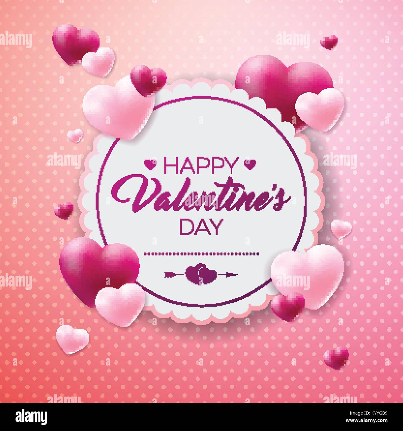 Happy Valentines Day Design With Red Heart On Shiny Background Stock