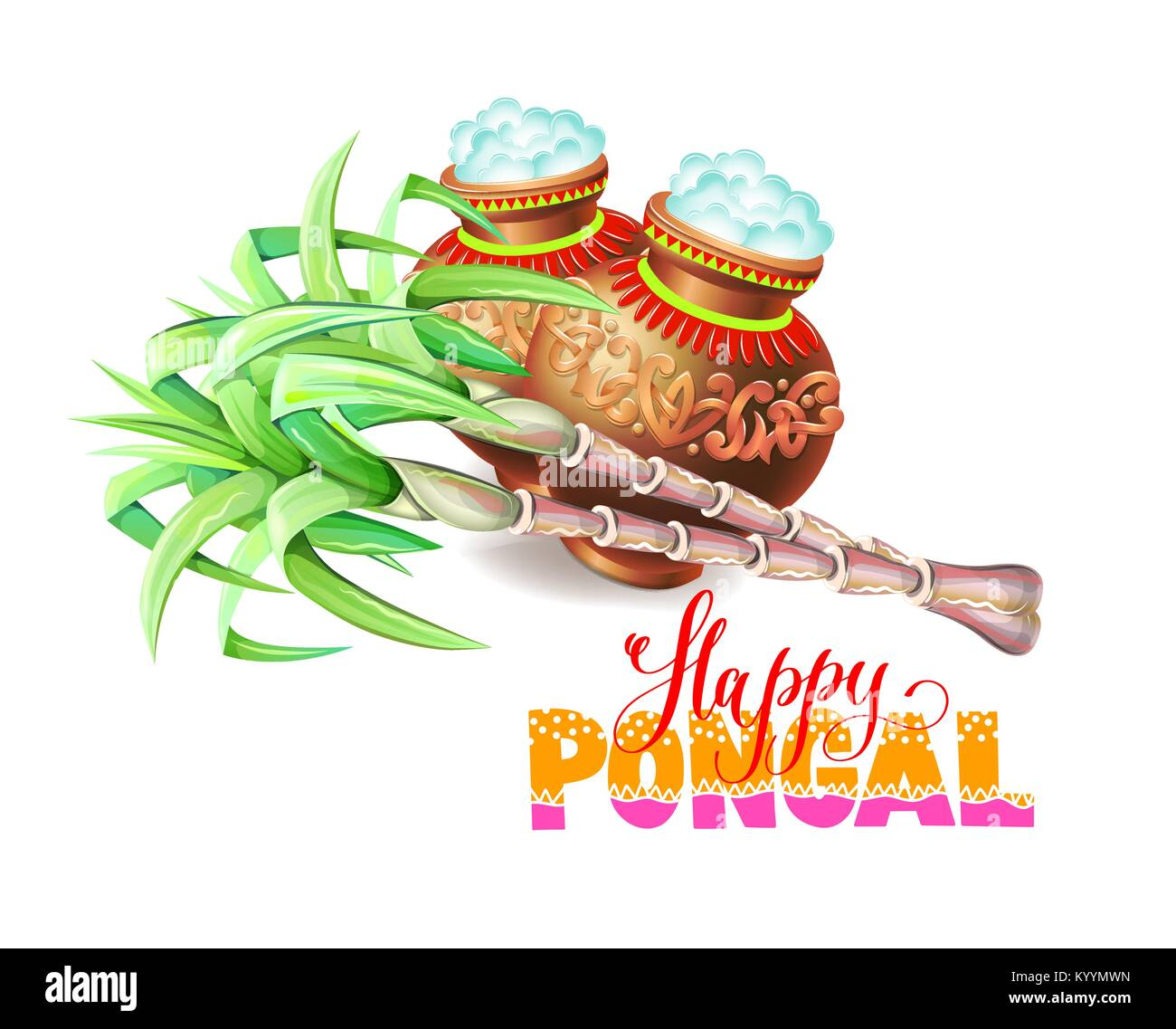 Happy pongal greeting card to south indian harvest festival vector happy pongal greeting card to south indian harvest festival vector illustration m4hsunfo