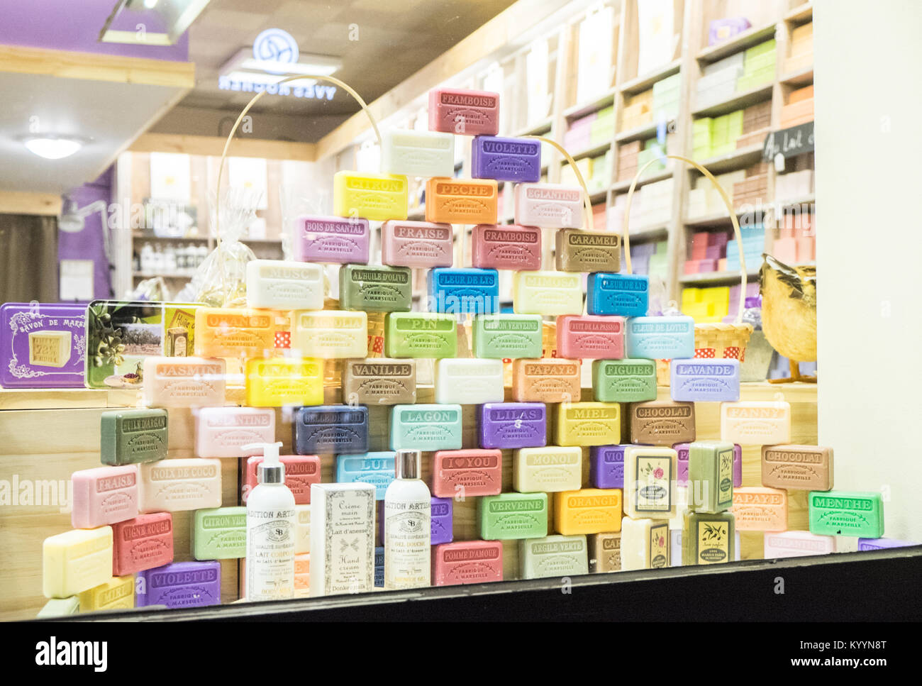 Le Magasin du Savon,The Shop of Soap,soap  shop,window,display,with,vintage,pram,and,lavender,Carcassonne,Aude,Department,France,French,Europe,European 627245f30e26