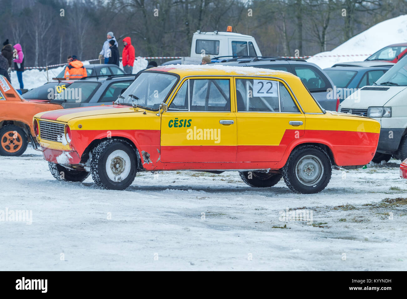 Old Car, Winter Rally. This Car Made In USSR