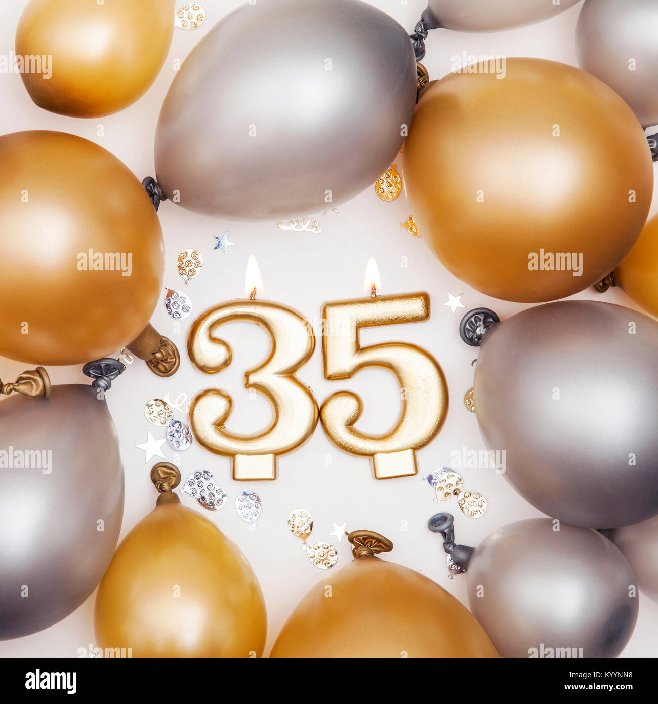 Birthday Celebration Number 35 Candle With Gold And Silver Balloons