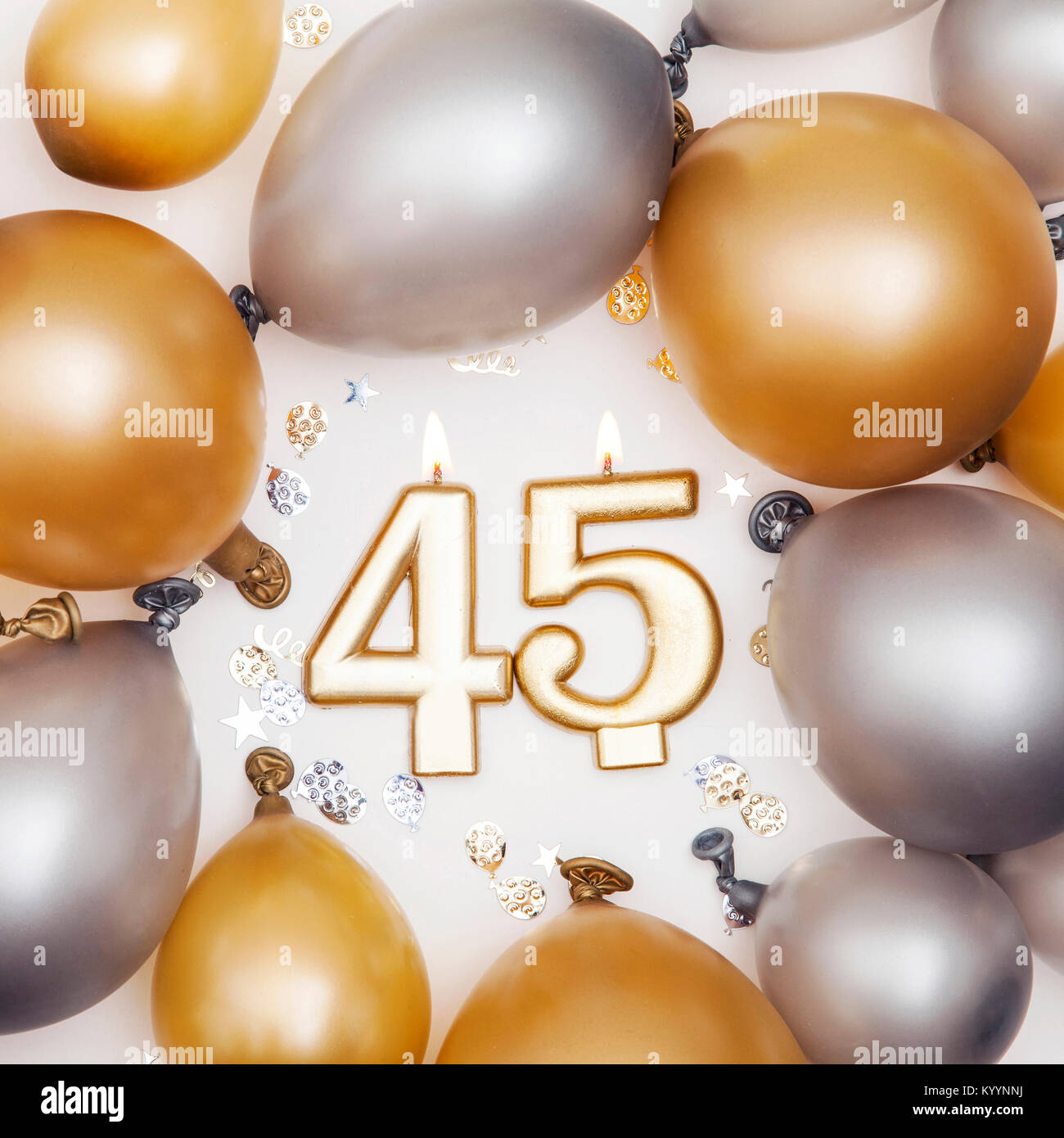 Birthday Celebration Number 45 Candle With Gold And Silver Balloons