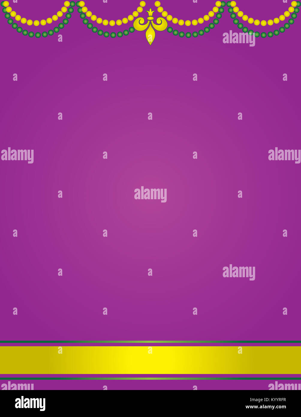 blank mardi gras or fat tuesday poster template with beads stock