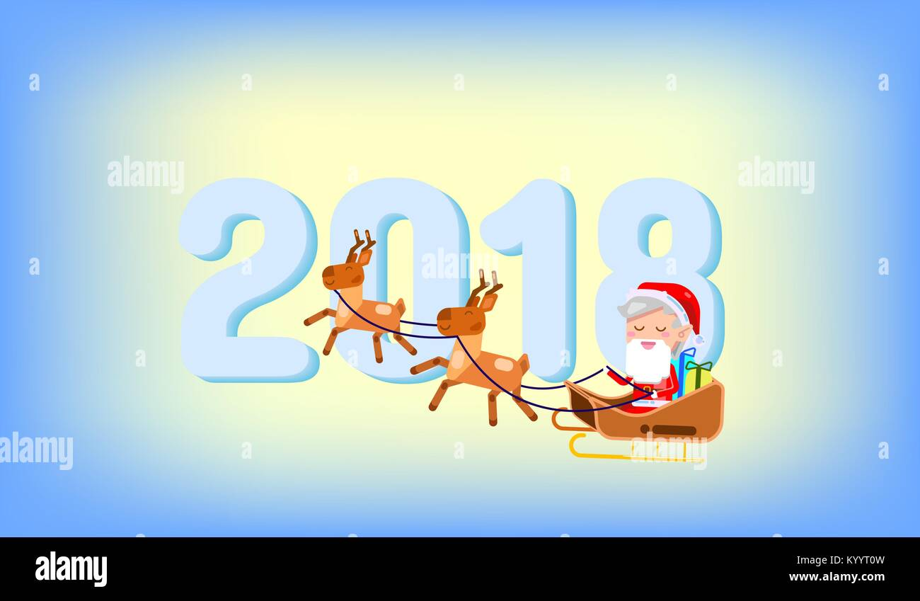 happy new year 2018 and merry christmas text written card cute santa claus vector illustration funny santa claus rides in a sleigh pulled by reindee
