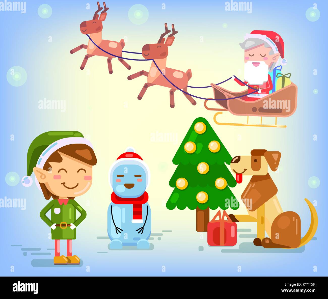 merry christmas and happy new year composition cartoon character flat santa claus and reindeer new year dog snowman and cute elf christmas scene v