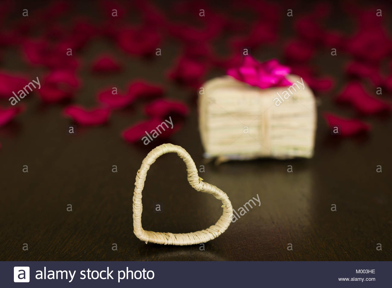 Valentines Day Background Composition Heart Shape Wooden Stock