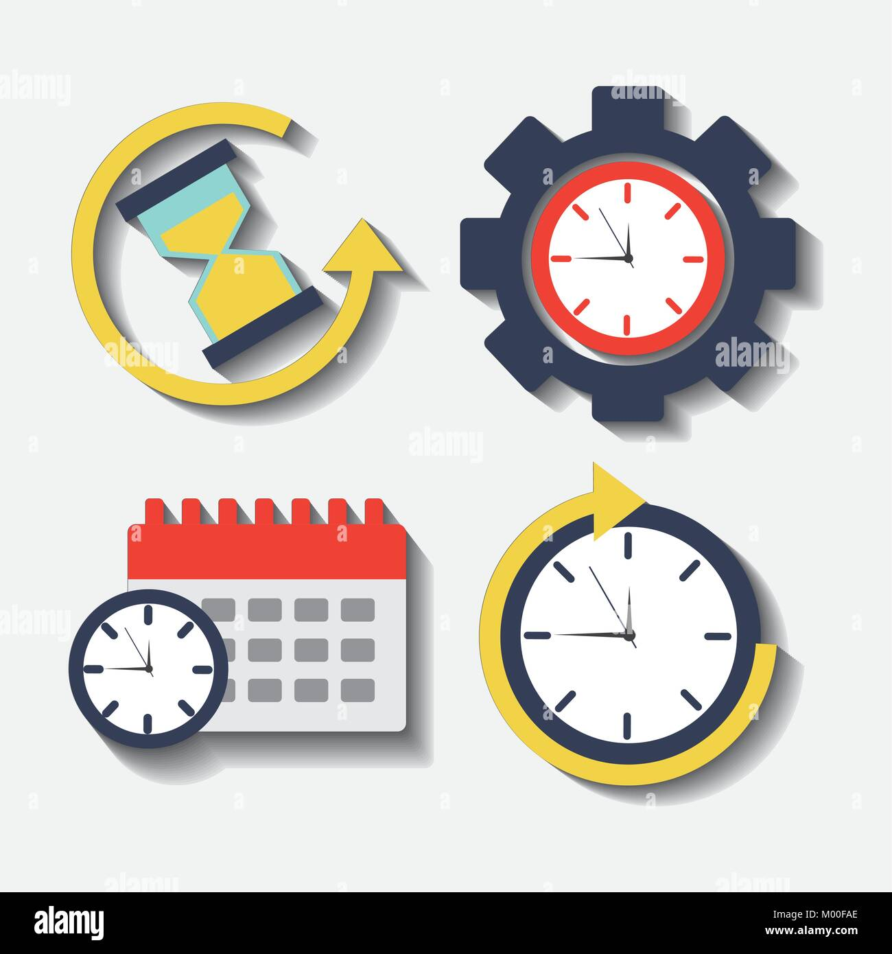 collection time clock hour plan service work stock vector art