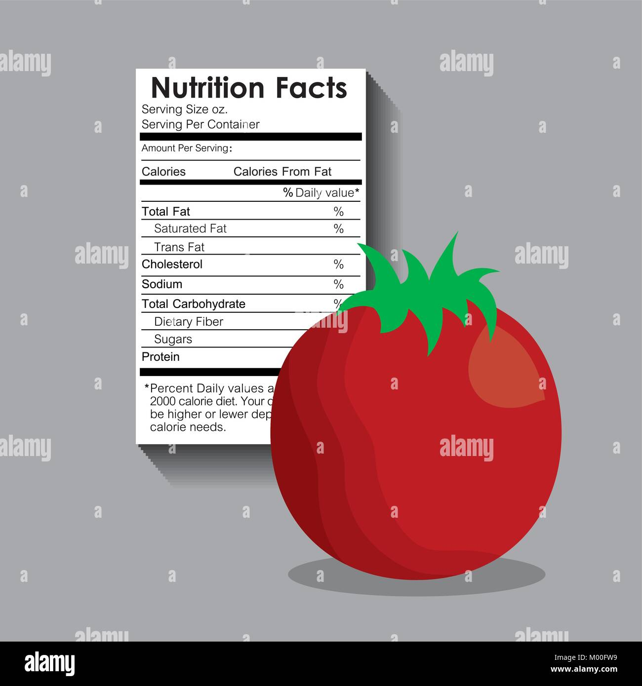 nutrition facts of tomato label content template stock vector art