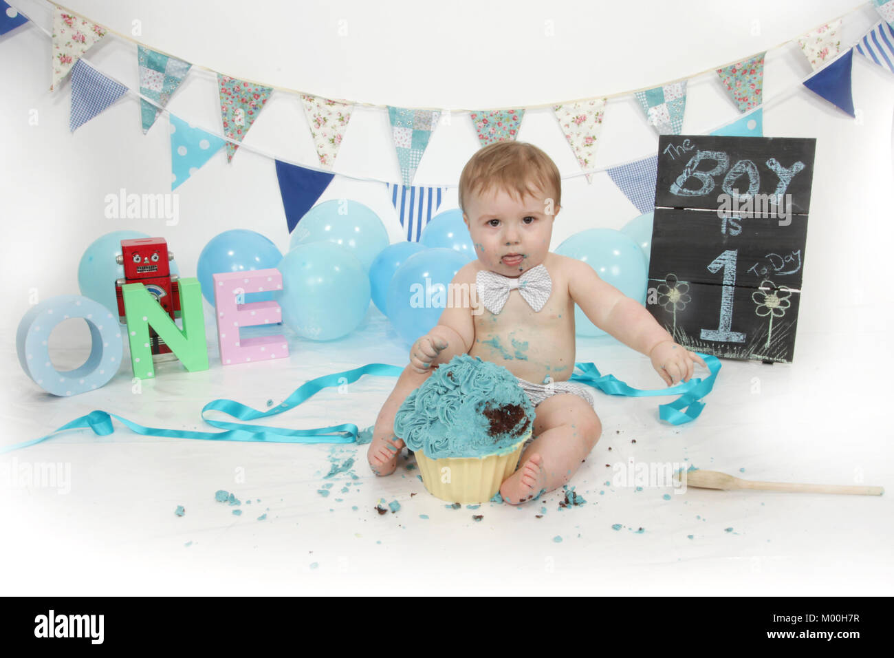 1 Year Old Boy Birthday Party Cake Smash Fun Food Stock Photo