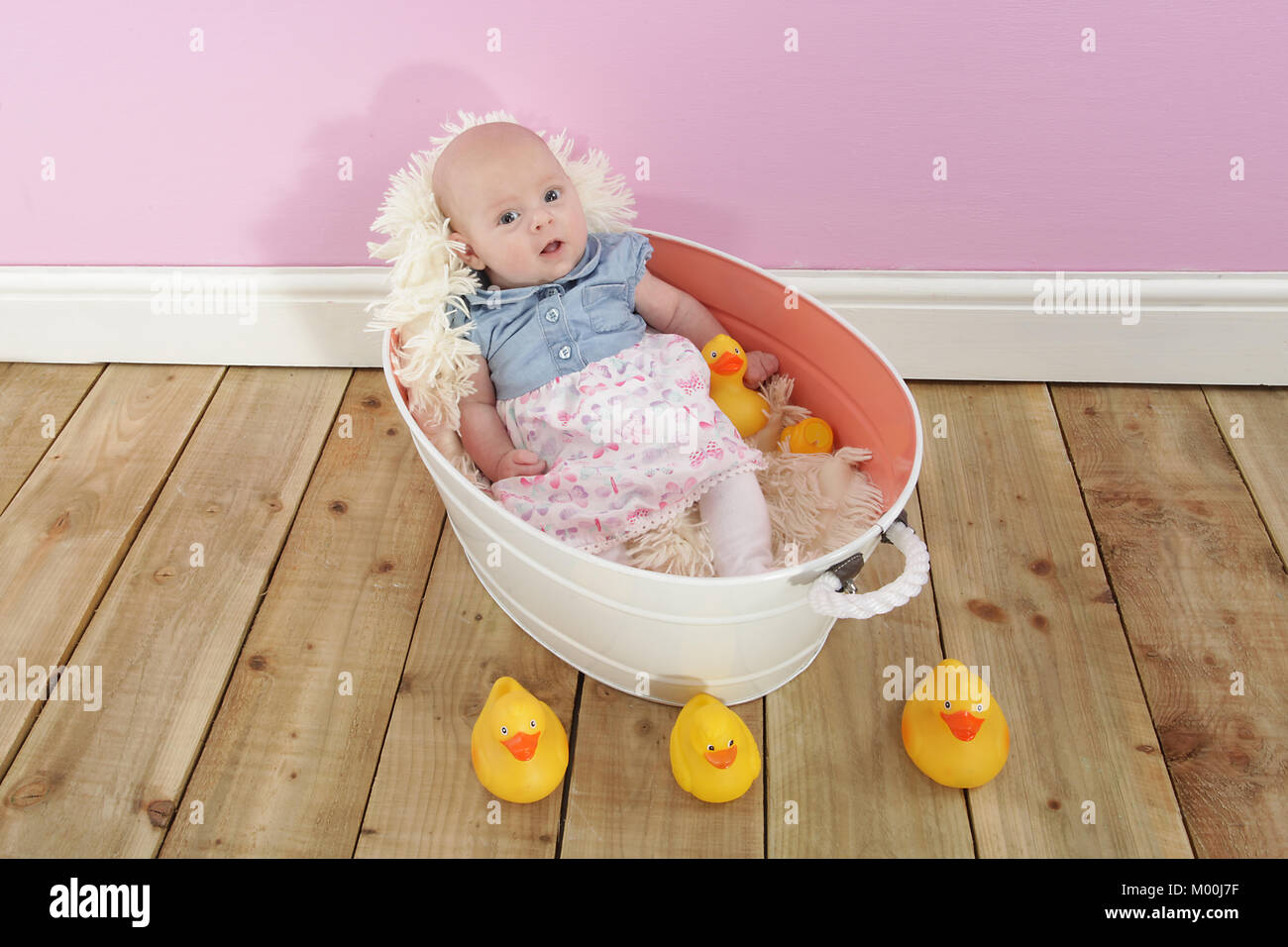 2 Month Old Baby Girl In Bath Tub With Toy Ducks Pretty Little Girl
