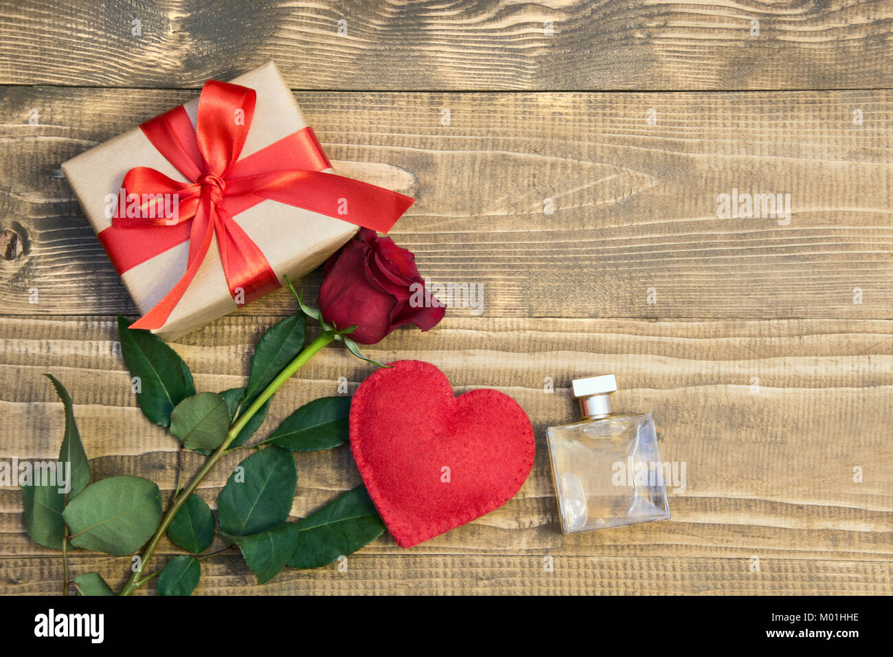 Valentine S Day Background With Love Gift Red Roses Perfume And