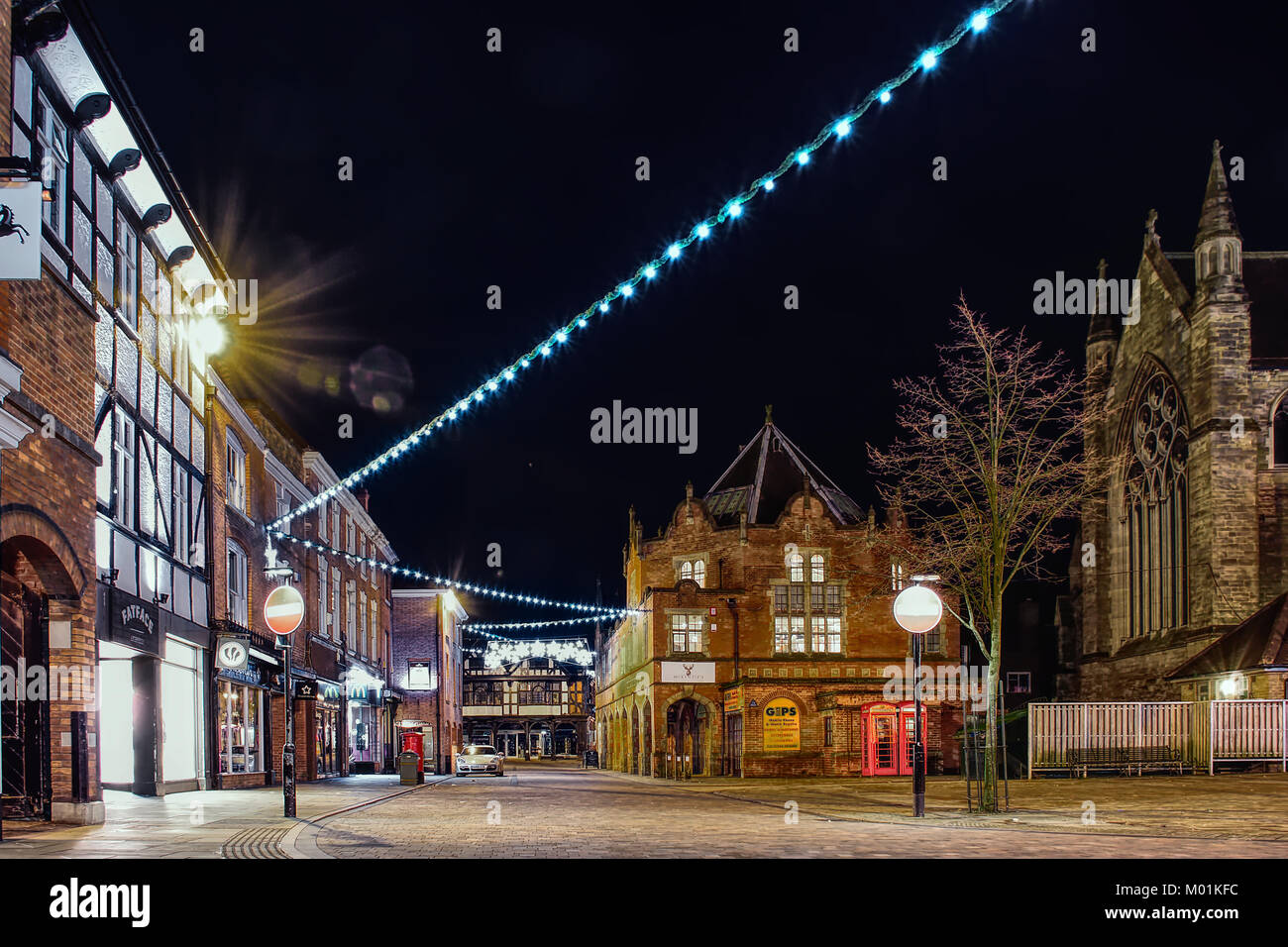 Lichfield Town Center At Night With Christmas Lights Switched  On,Lichfield,Staffordshire,United Kingdom,03 December,2017.