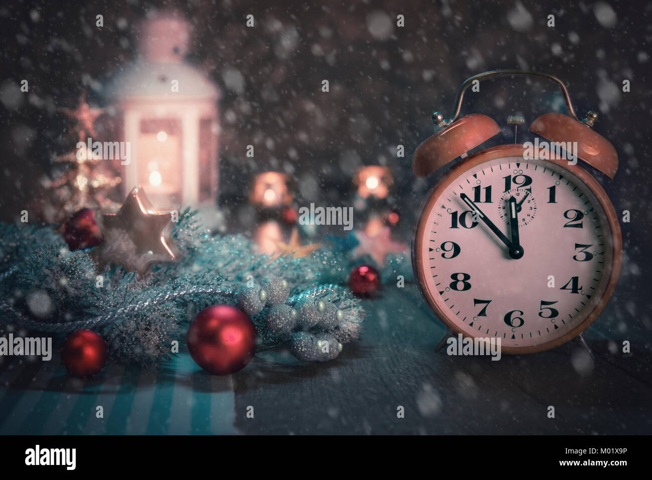 Happy New Year Greeting Card Or Banner Design With Alarm Clock