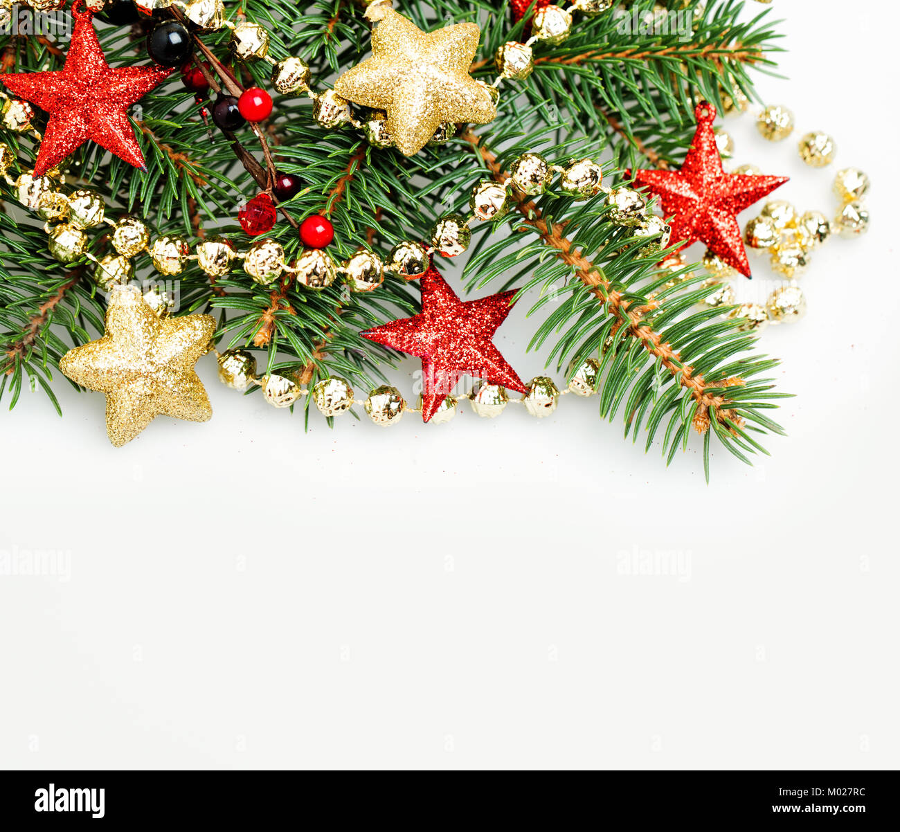 christmas background border with red and gold stars and xmas decoration new year background with copy space