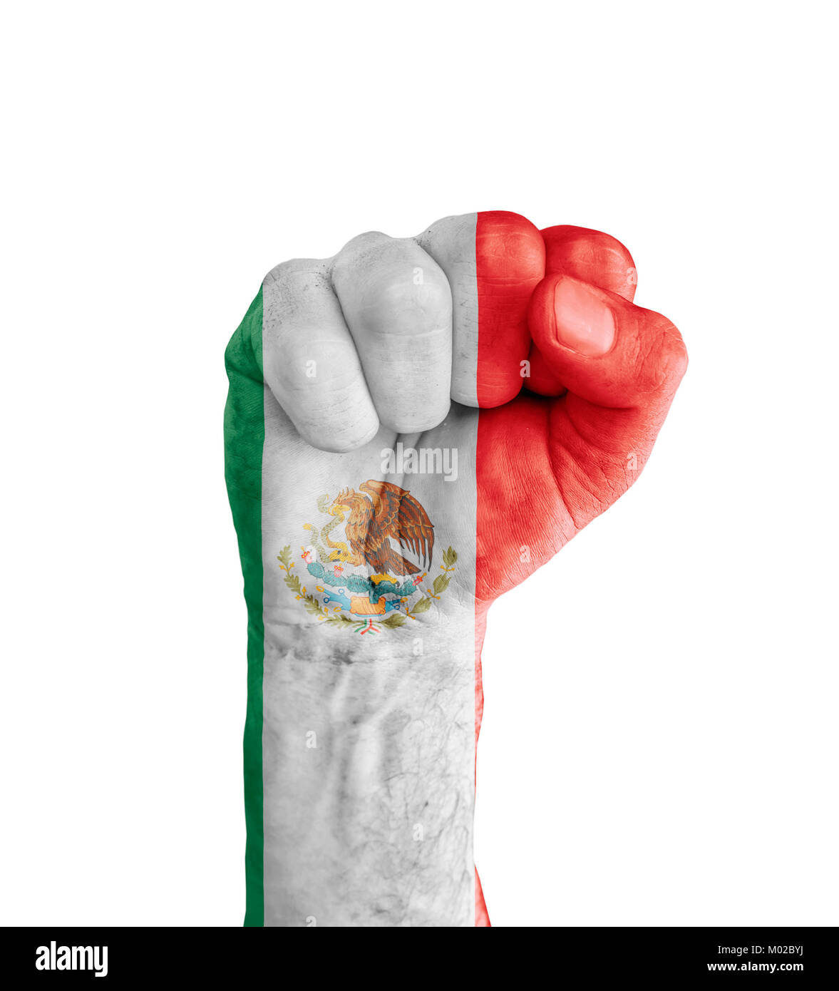 Flag Of Mexico Painted On Human Fist Like Victory Symbol Stock Photo