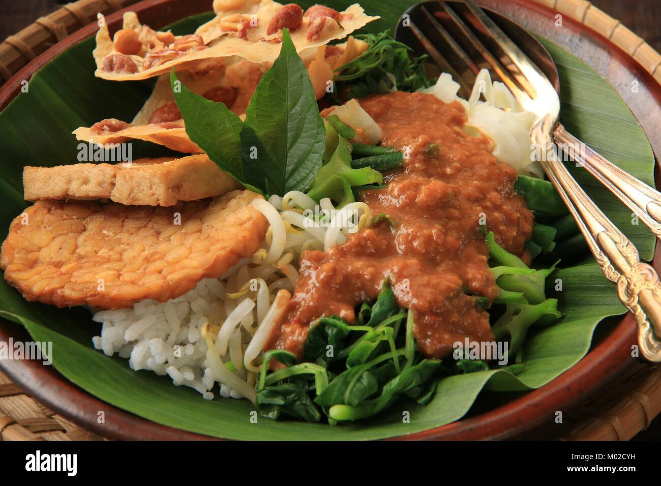 nasi pecel the traditional javanese rice dish of steamed rice with