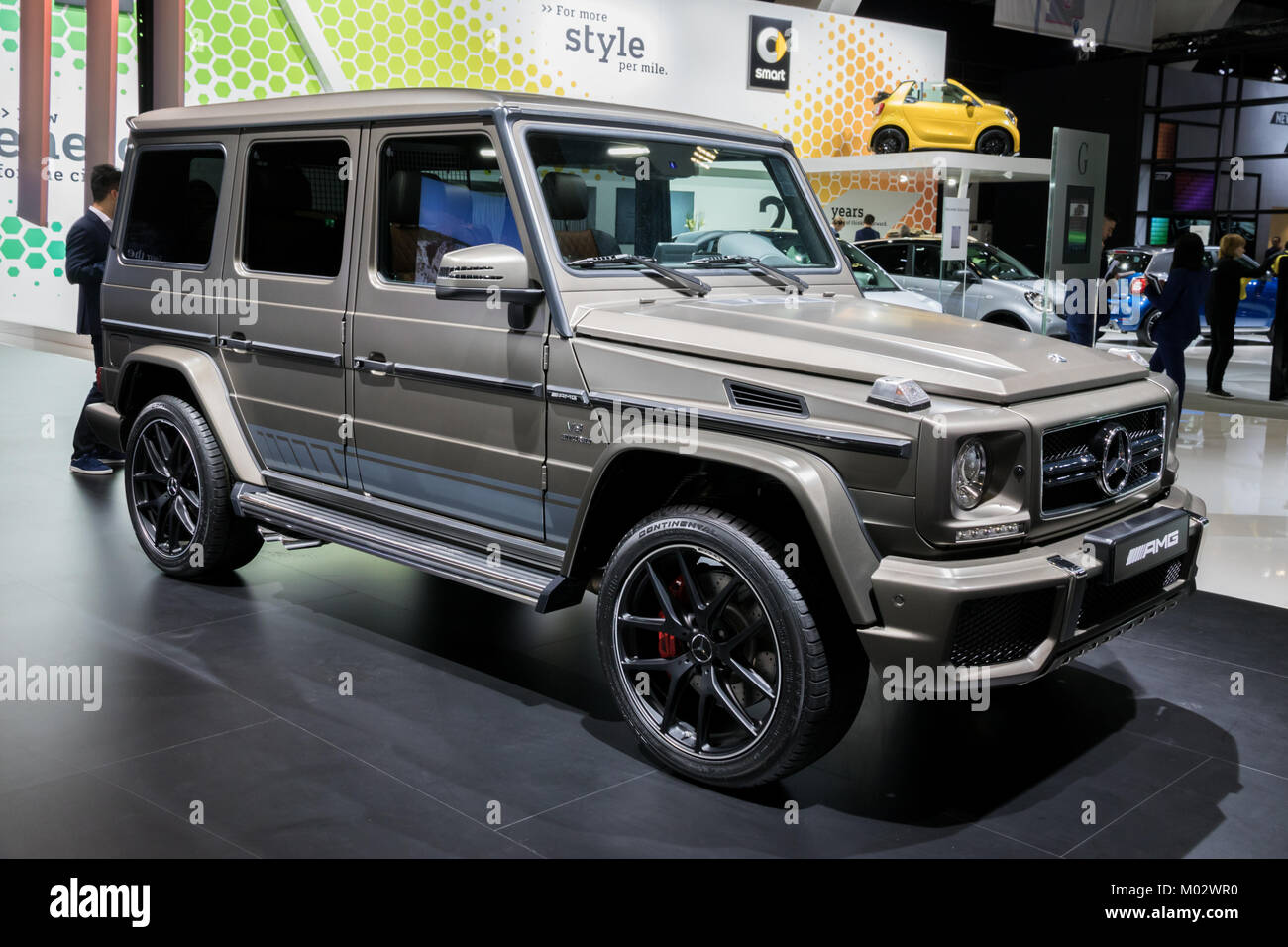 brussels jan 10 2018 mercedes benz g class amg 4x4 car showcased stock photo royalty free. Black Bedroom Furniture Sets. Home Design Ideas