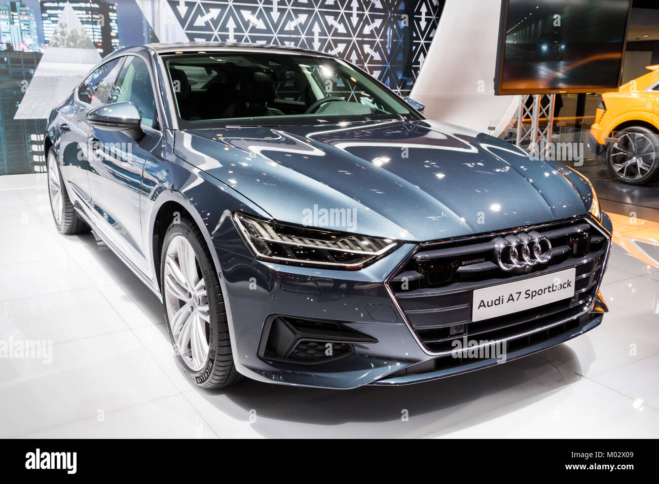 BRUSSELS   JAN 10, 2018: New 2018 Audi A7 Sportback Car Presented At The