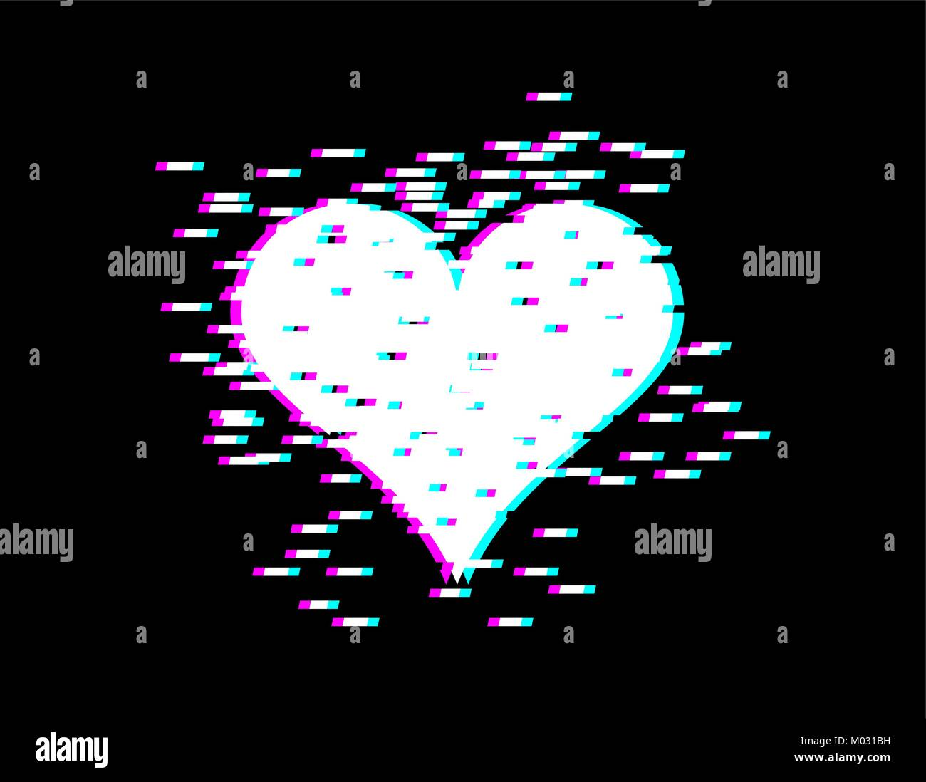 Love Heart Glitch Effect For Valentines Day Lovers Day Emblem For