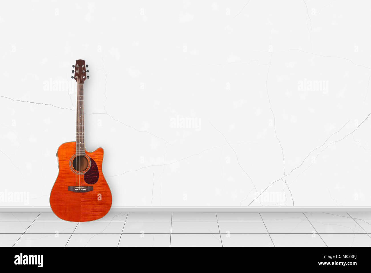 Home Interior   Tiger Flame Maple Acoustic Guitar In Front On A White Wall  Background
