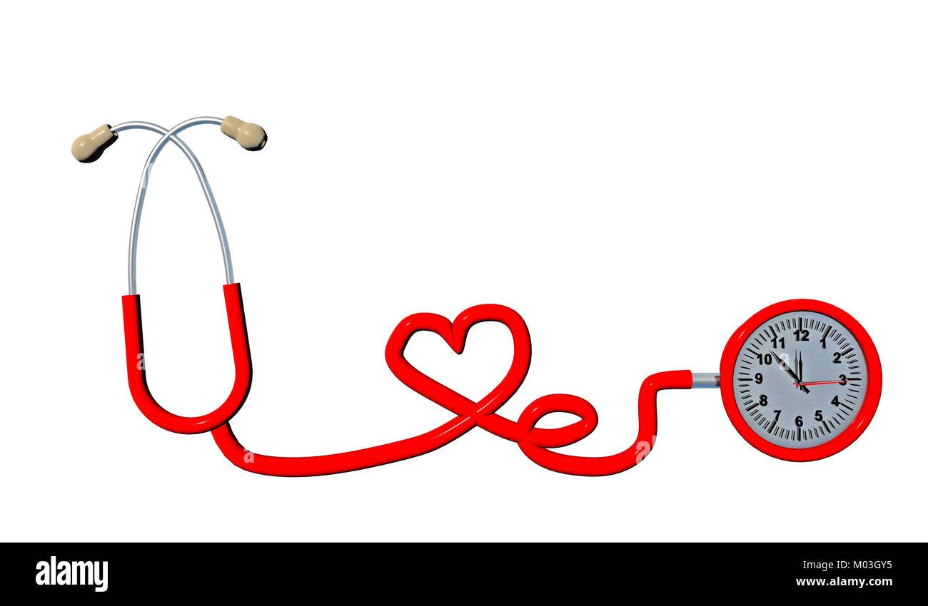 Stethoscope Time Red Top View Heart Isolated In White Health 3d