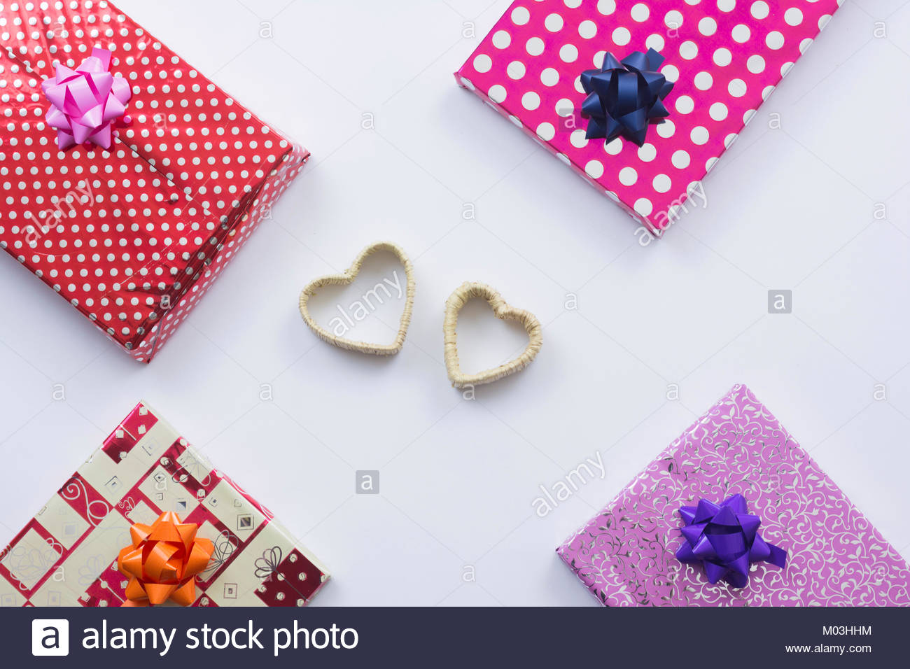 Gift Box And Heart Shape Composition For Happy New Year Valentines