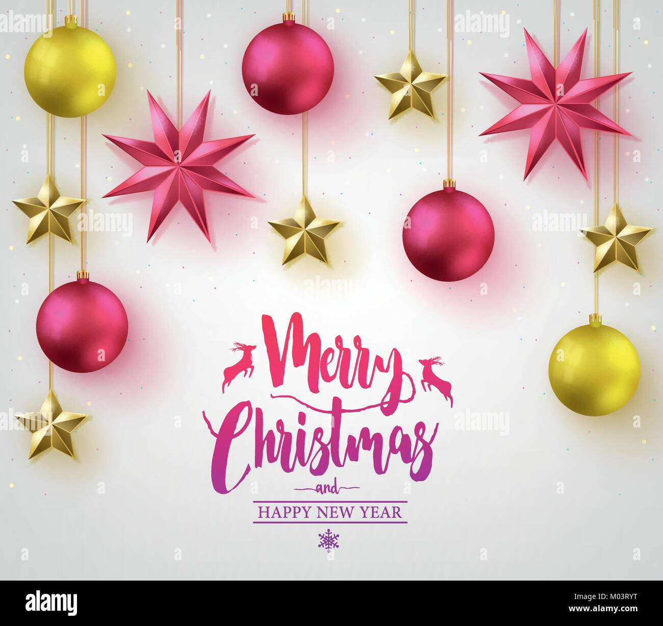 Merry Christmas Calligraphy with Simple 3D Different Colored Stock ...