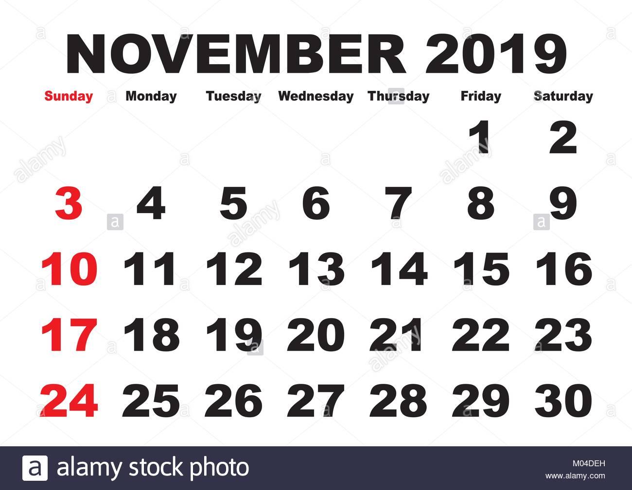 blank calendar template november 2019