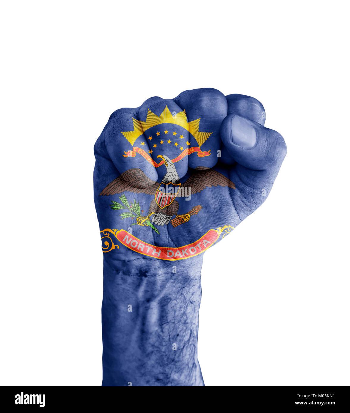 Flag Of Us North Dakota State Painted On Human Fist Like Victory