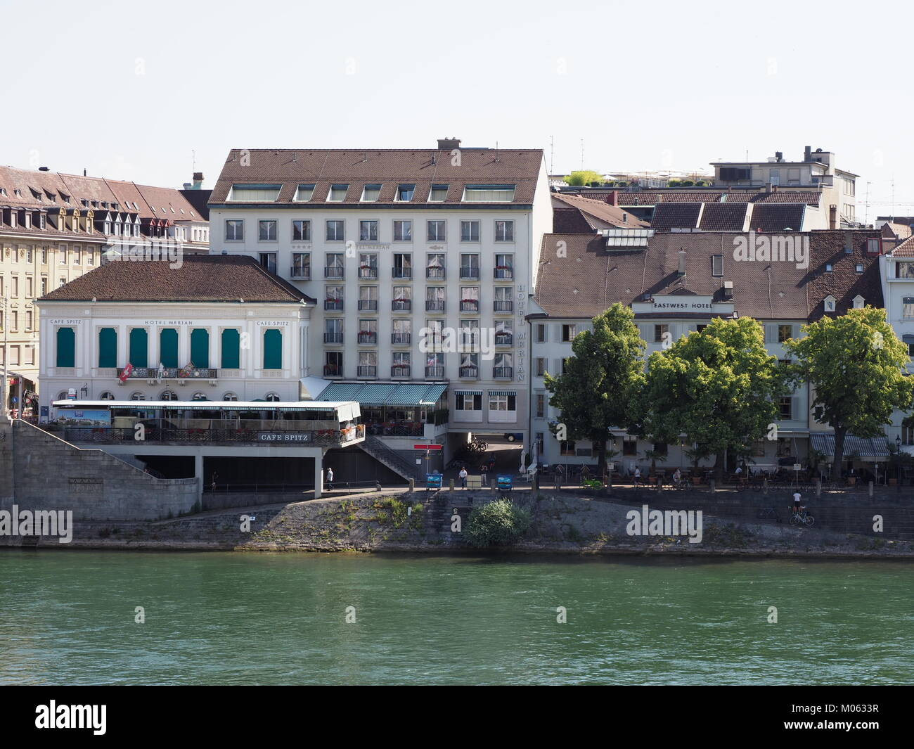 BASEL SWITZERLAND EUROPE On JULY Bank On Rhine River In - Swiss river to the rhine