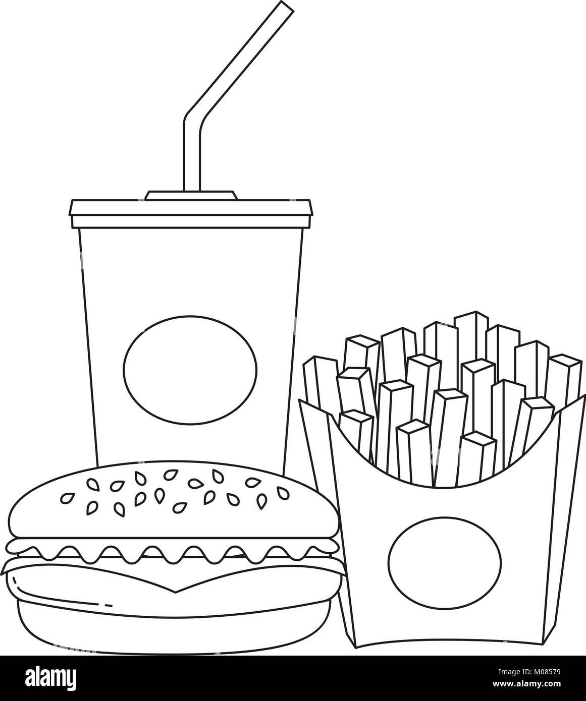 Black and white line art poster fast food soda burger fries Stock ...