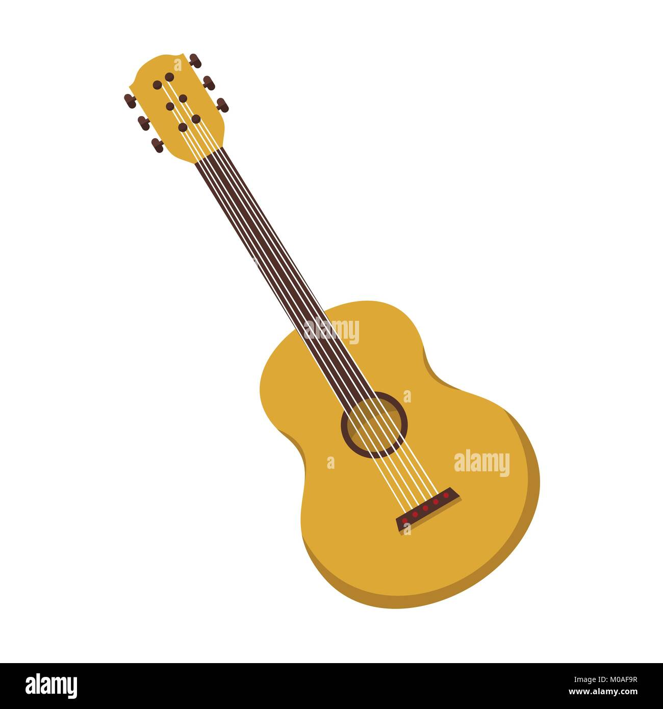 Simple Acoustic Guitar Vector Illustration Graphic Design Stock