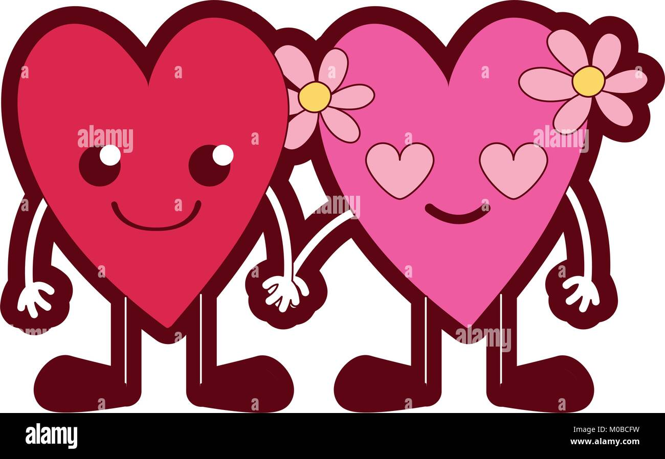 Clip Art Line Of Hearts : Line color nice hearts couple kawaii with arms and legs stock