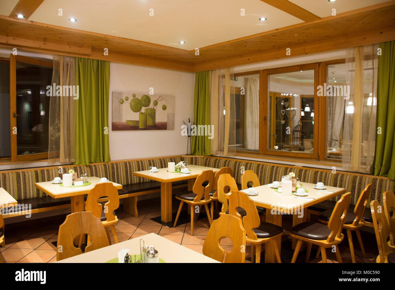 Travelers People Dining Dinner And Drinking At Bar In Comfortable Restaurant Room Of Resort Hotel Pfunds City On September 2 2017 Tirol Region