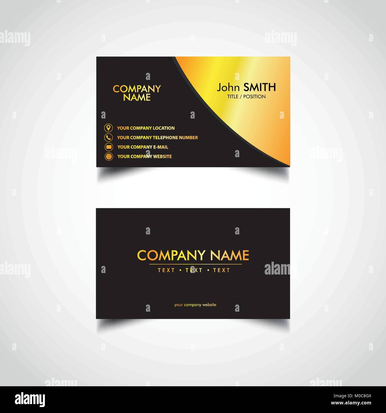 Golden Business Card Template, Vector, Illustration, Eps File ...
