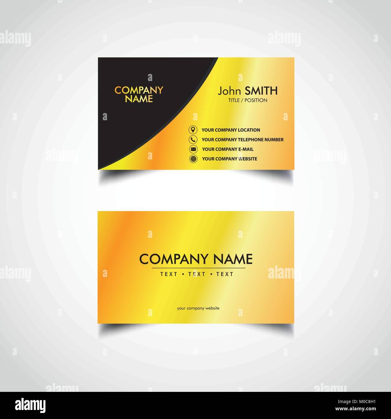 Golden Business Card Template Vector Illustration Eps File Stock