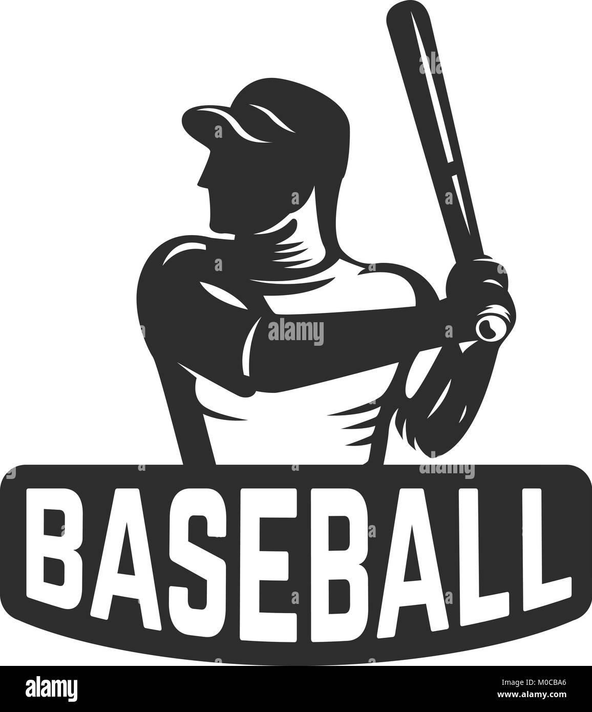 Emblem Template With Baseball Player Design Element For Logo Label Sign Vector Illustration