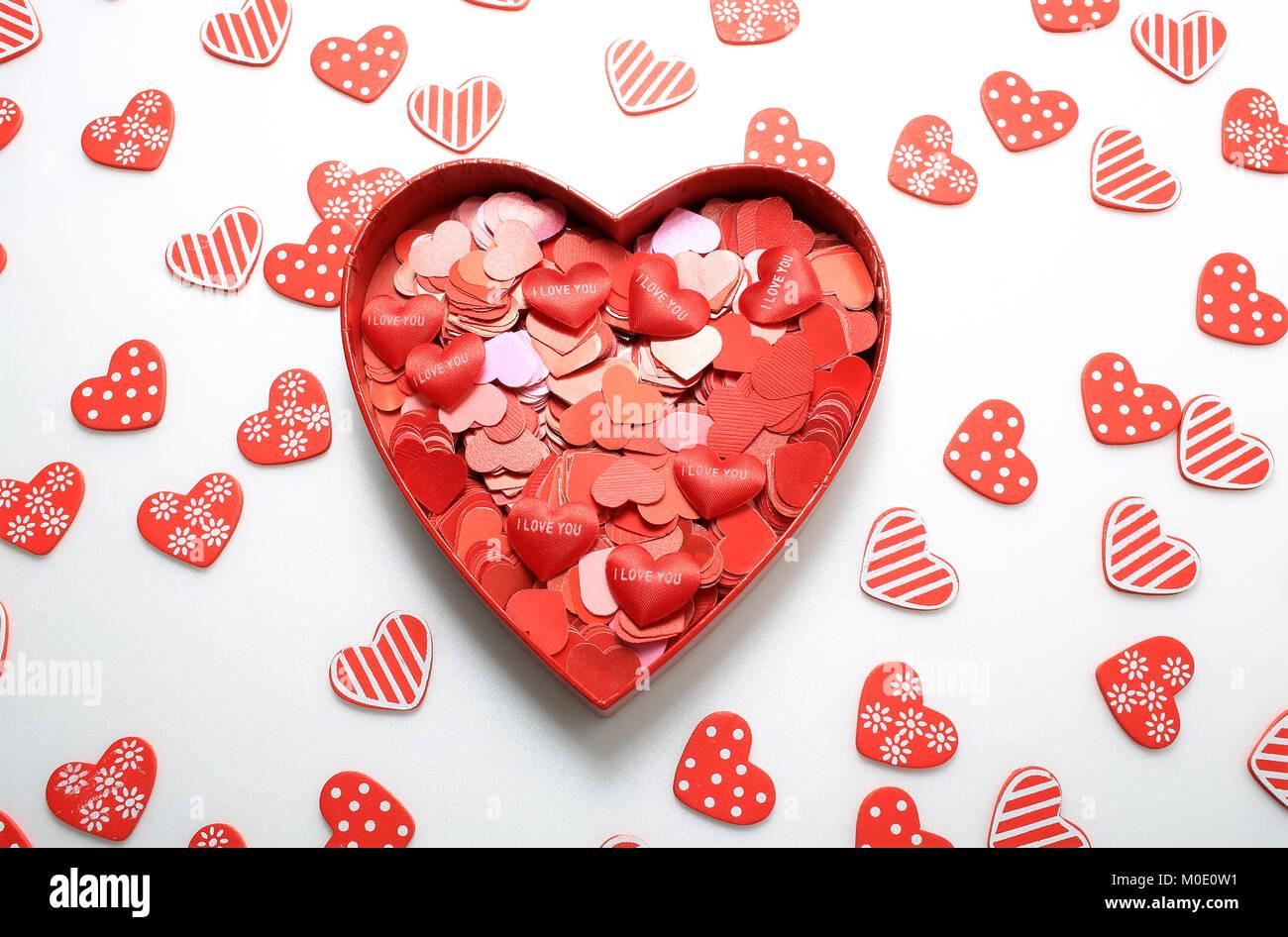 I love u too stock photos i love u too stock images alamy big heart gift full of small hearts i love you or i love negle Choice Image