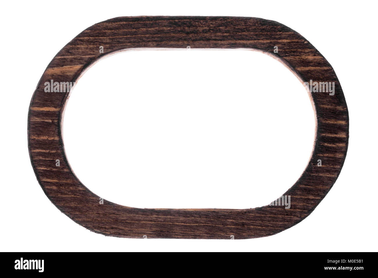 Beautiful one-piece wooden oval frame, isolated on white background ...