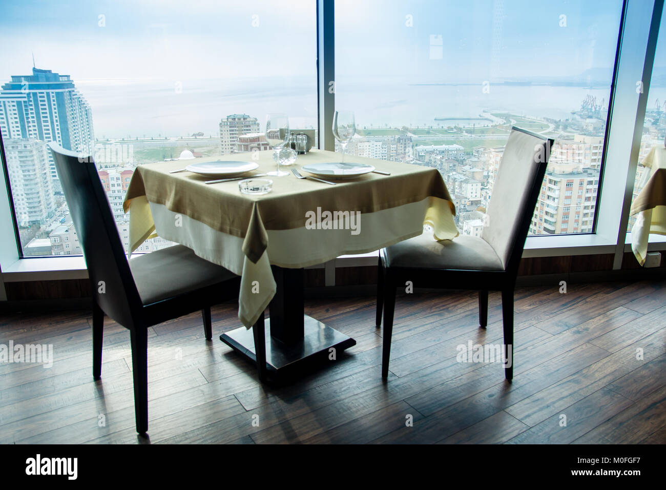 Restaurant Empty Table For Two With Large Window View Stock Photo - Table for two restaurant