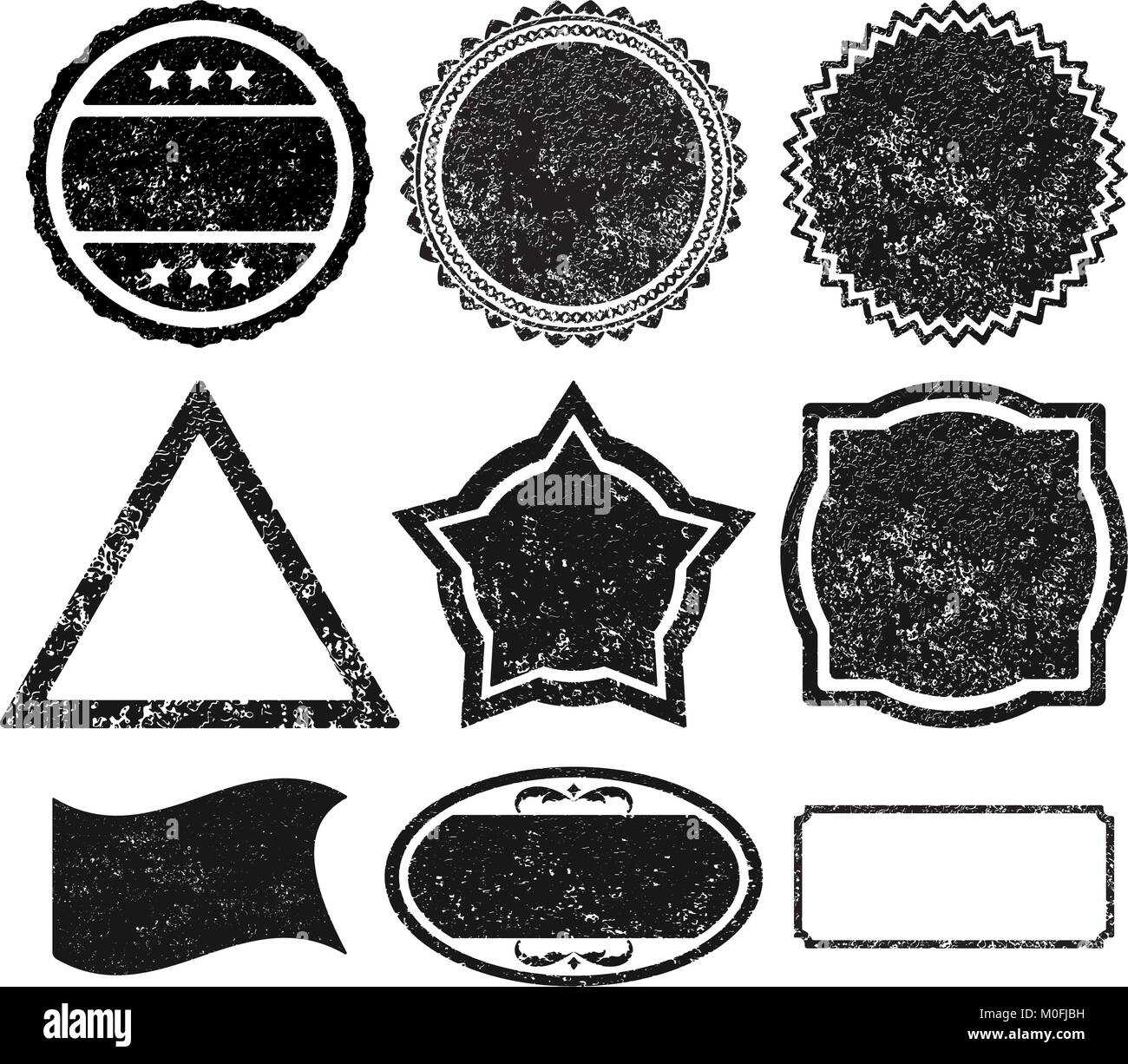 set 9 rubber stamp template stock vector art illustration vector