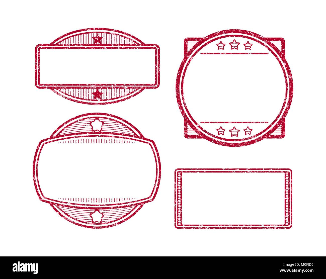 set of 4 rubber stamps templates stock vector art illustration
