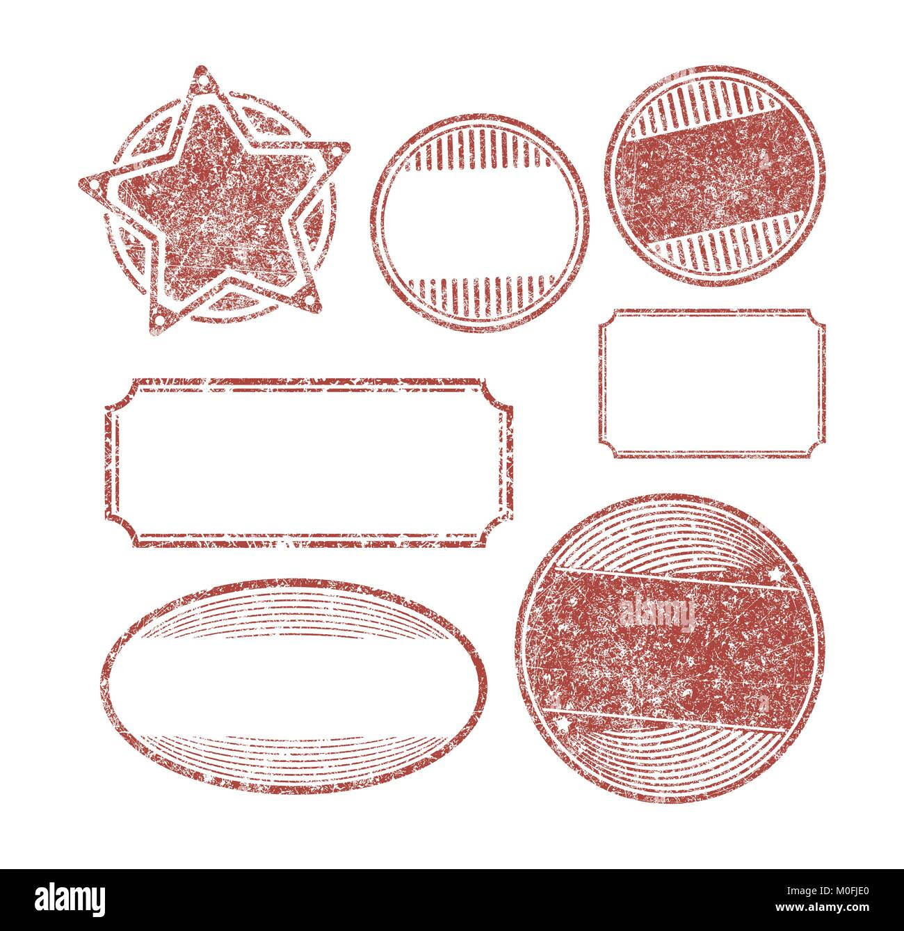 set of 7 rubber stamps templates stock vector art illustration