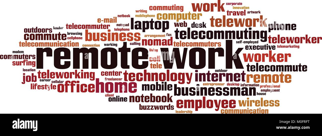 remote work word cloud concept vector illustration stock vector art