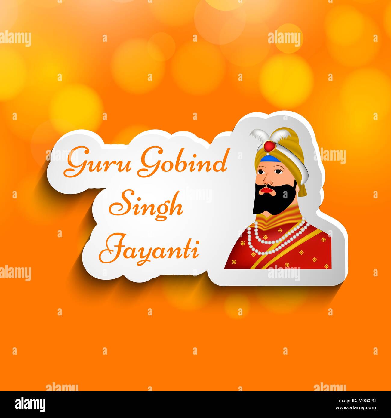 Illustration Of Elements Of Sikh Festival Guru Gobind Singh Jayanti