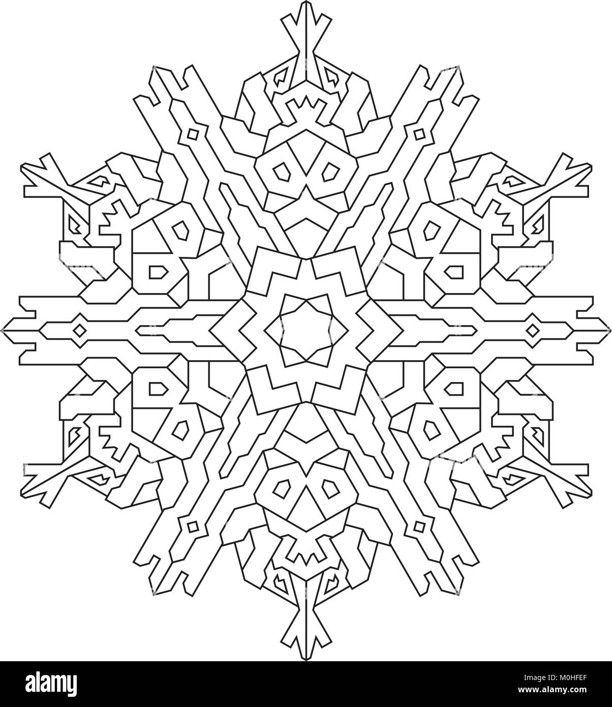 Outlines of snowflake in mono line style for coloring, coloring book ...