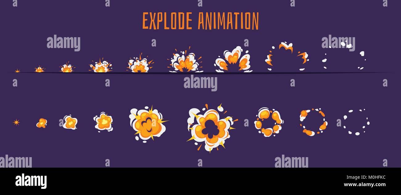 Explode Effect Burst Sprites Stock Vector Art Illustration Vector
