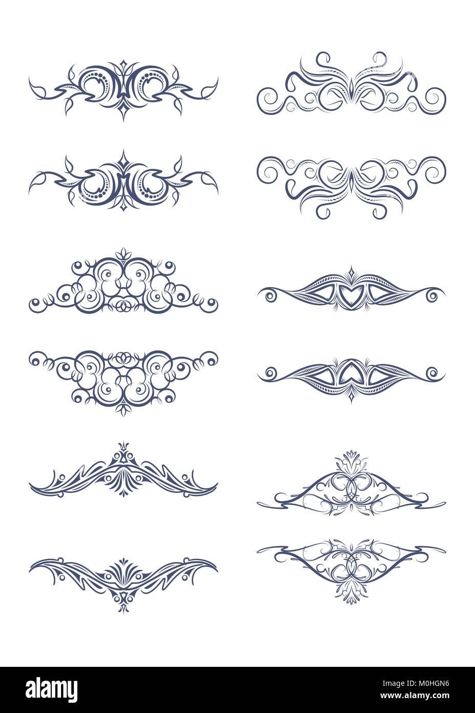 Set of 6 vector vintage text frames - dividers Stock Vector Art ...